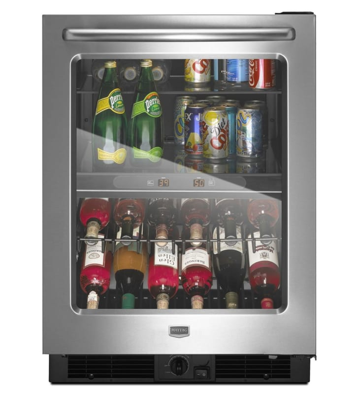 Maytag MBCM24FWB 24 Inch Wide 5.8 Cu. Ft. Beverage Center with Dual Temperature Stainless Steel Refrigerators Fridge