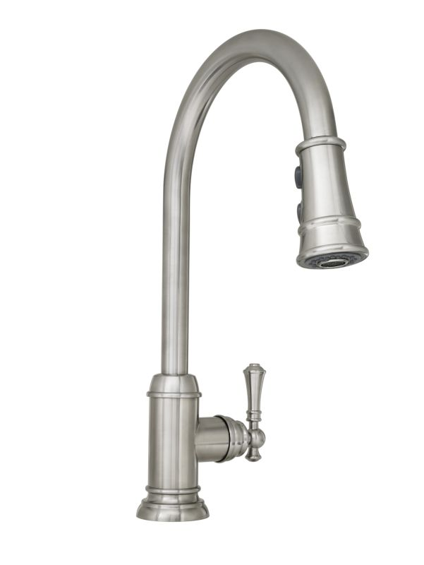 Mirabelle Mirxcam100ss Stainless Steel Amberley Pullout Spray Kitchen Faucet With High Arch