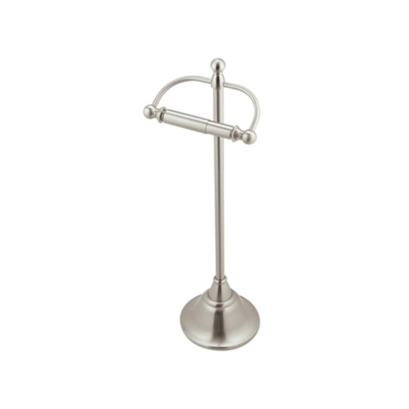 Moen csidn6850bn brushed nickel 22 free standing single toilet paper holder from the sage - Brushed nickel standing toilet paper holder ...
