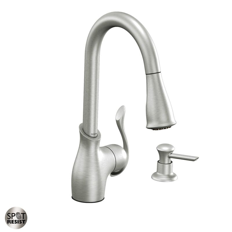 moen ca87006srs spot resist stainless kitchen faucet with