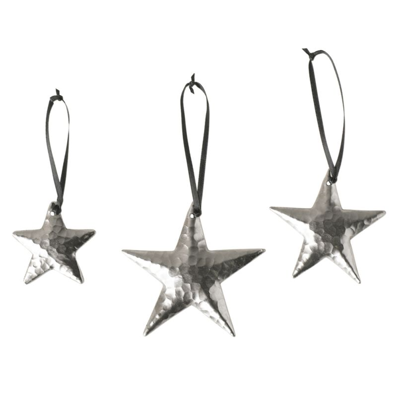 Native Trails CPO35 Handcrafted Copper Star Ornaments (Set of 3) Brushed Nickel Holiday Decor Small Hanging Ornament