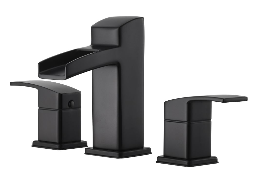 Black Widespread Bathroom Faucet : Pfister GT49-DF0B Black Kenzo Widespread Bathroom Faucet with Metal ...