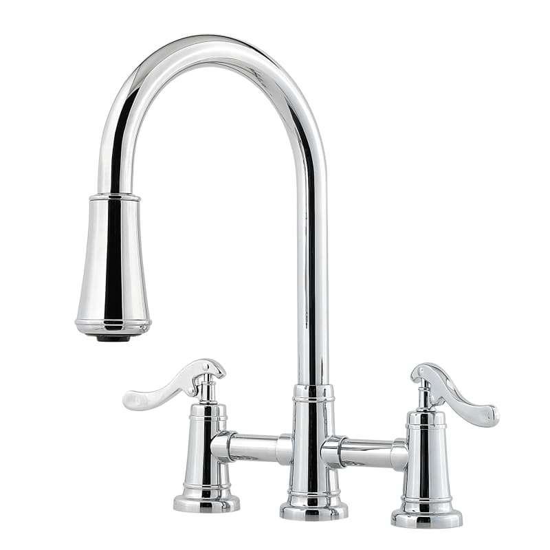 Pfister Gt531 Ypc Polished Chrome Ashfield 2 Function Pullout Spray High Arc Kitchen Faucet With