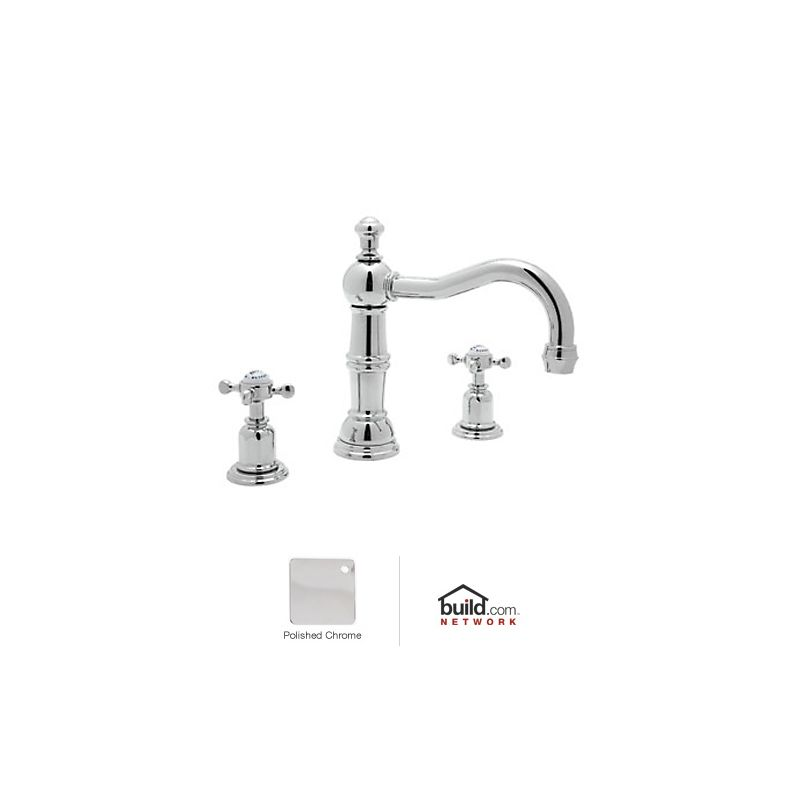 Rohl Polished Chrome Perrin And Rowe Widespread Bathroom Faucet With Pop Up Drain