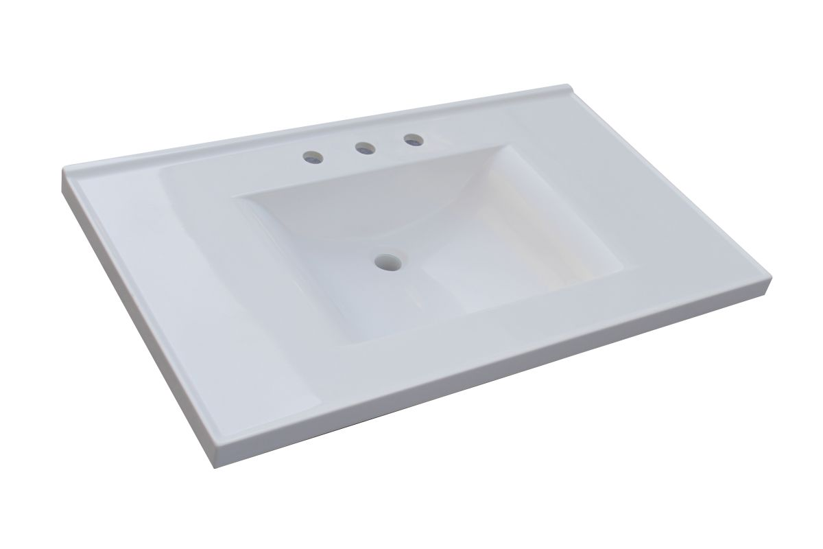 Vanity Tops With Integrated Sink : Sagehill designs wb w white quot cultured marble vanity