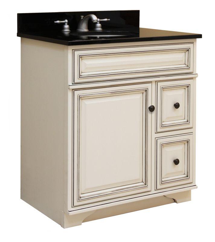 """Sunny Wood SL3021D Glazed White Sanibel 30"""" Maple Wood ..."""