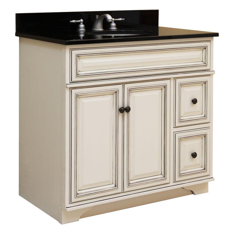 """Sunny Wood SL3621D Glazed White Sanibel 36"""" Maple Wood"""
