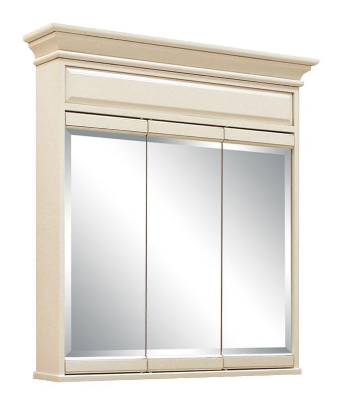 Sunny wood sl3638t glazed white sanibel 36 triple door for Wood frame medicine cabinet