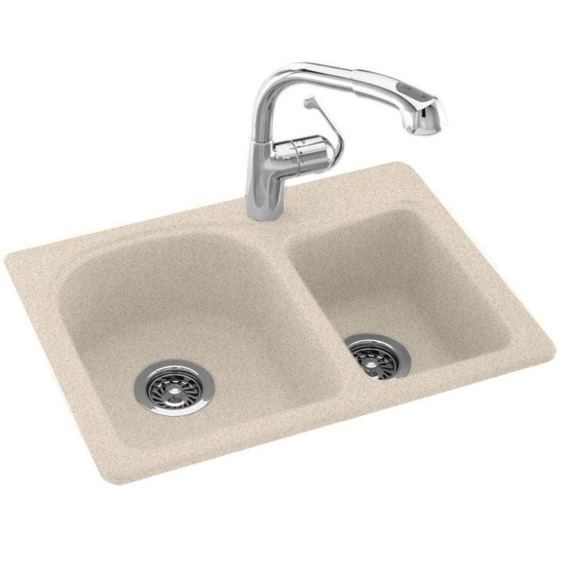 Swanstone Almond Galaxy Space Saver Double Basin Swanstone Kitchen Sink 25 W X 18