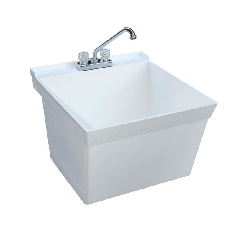 ... Free Standing Laundry Tub with Three Holes Drilled - FaucetDirect.com