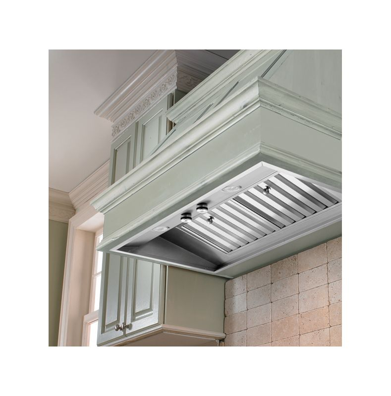 Vent-A-Hood M46PSLD 48 Wall Mount Liner Insert with Single or Dual Blower Optio Stainless Steel Range Hood