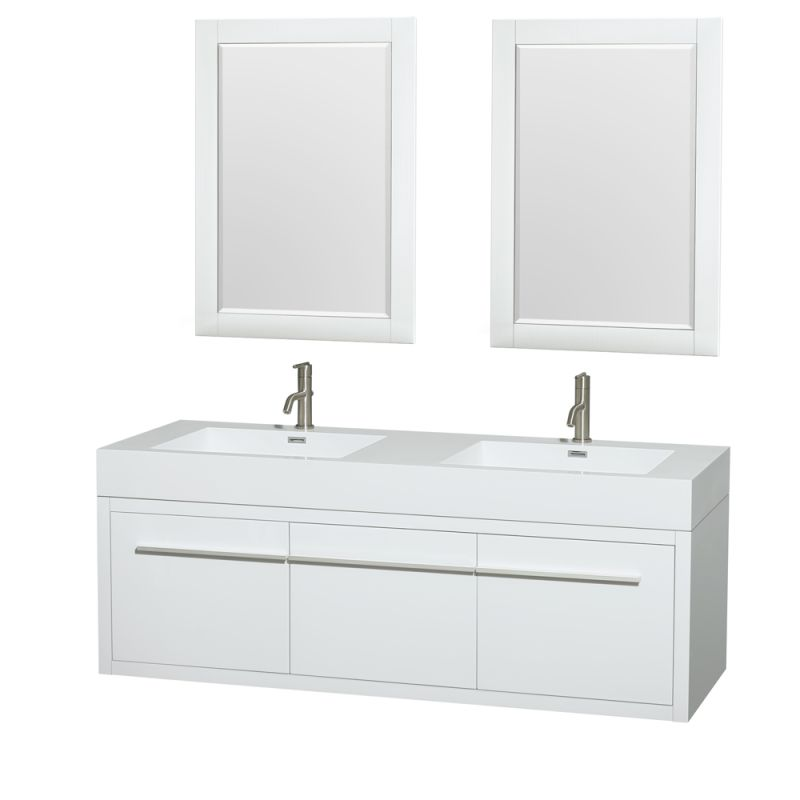 Wyndham Collection WCR430060DARINTM24 60 Wall Mounted Vanity Set with MDF Cabin Glossy White Fixture Double