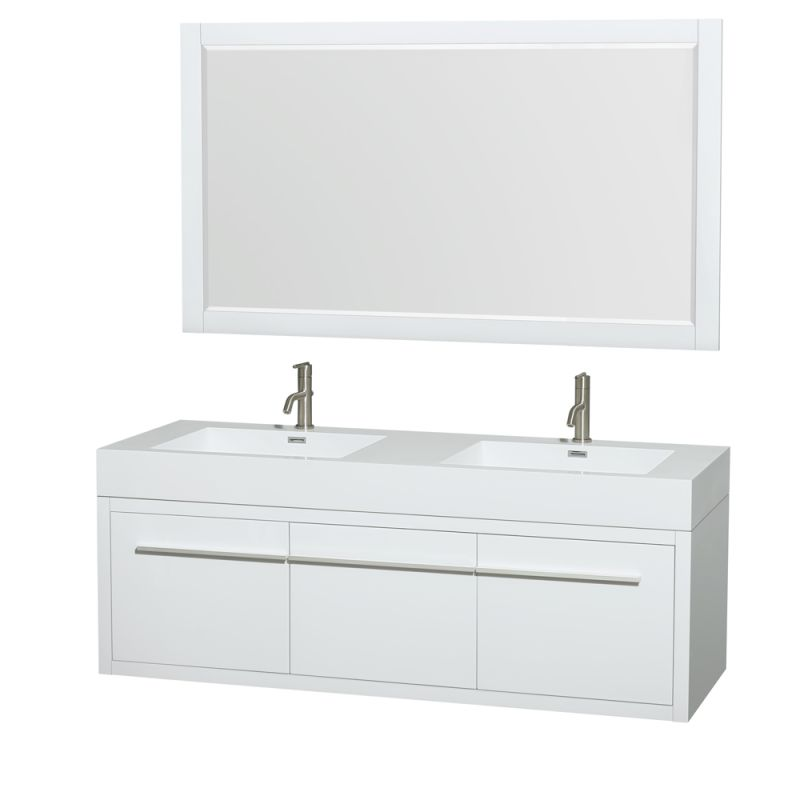 Wyndham Collection WCR430060DARINTM58 Axa 60 Double Vanity Cabinet Set - Includ Glossy White Fixture Double