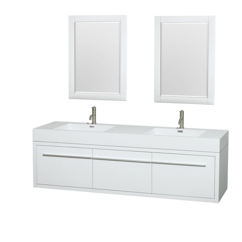 Wyndham Collection WCR430072DARINTM24 72 Wall Mounted Vanity Set with MDF Cabin Glossy White Fixture Double