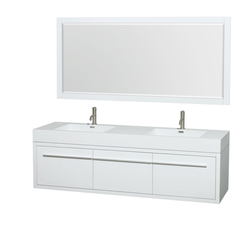 Wyndham Collection WCR430072DARINTM70 72 Wall Mounted Vanity Set with MDF Cabin Glossy White Fixture Double