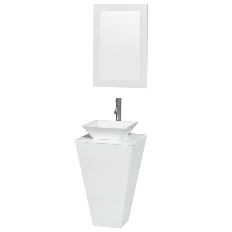 Wyndham Collection WC-CS004 20 Esprit Floor-Standing Pedestal Vanity Set - Incl Glossy White \/ White Stone Top Fixture Single