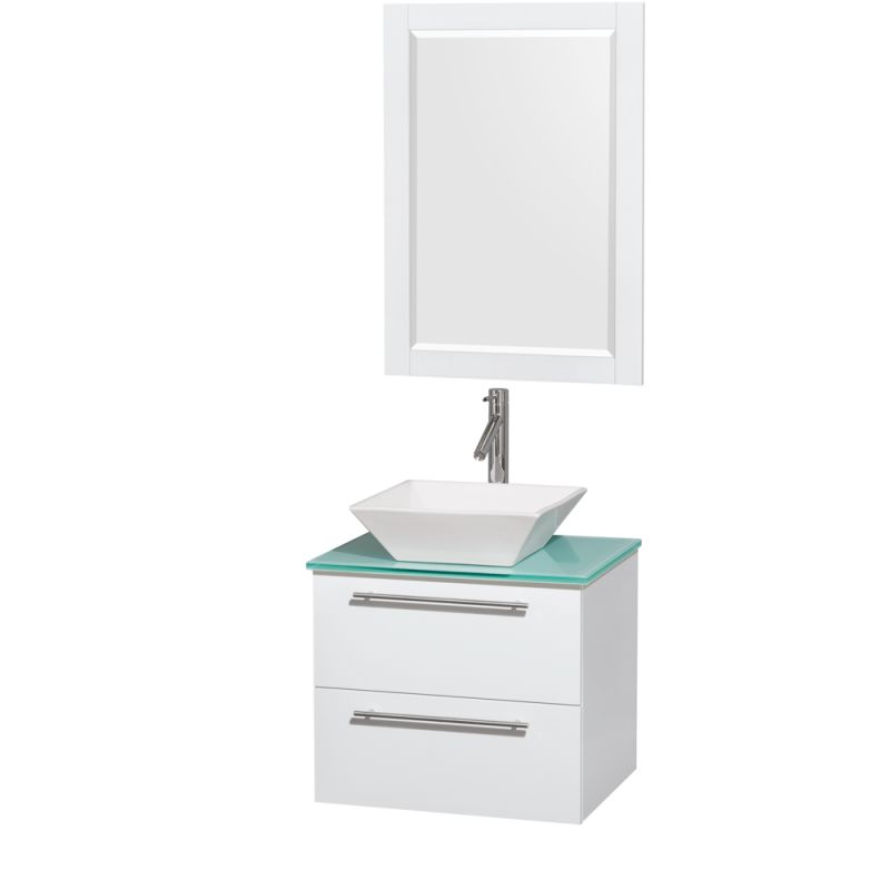 Wyndham Collection WCR410024 24 Wall Mounted Vanity Set with MDF Cabinet, Glass Glossy White \/ Green Glass Top Fixture Single