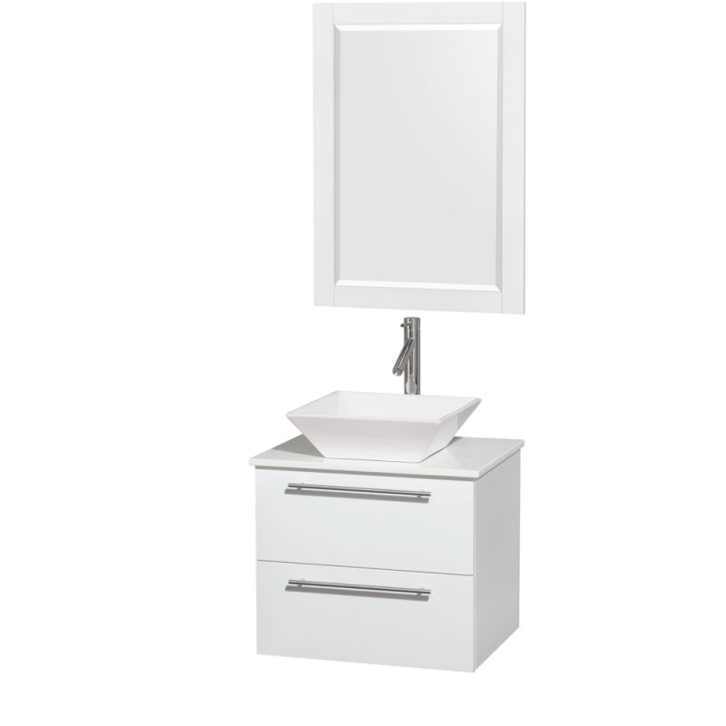 Wyndham Collection WCR410024 24 Wall Mounted Vanity Set with MDF Cabinet, Glass Glossy White \/ White Stone Top Fixture Single