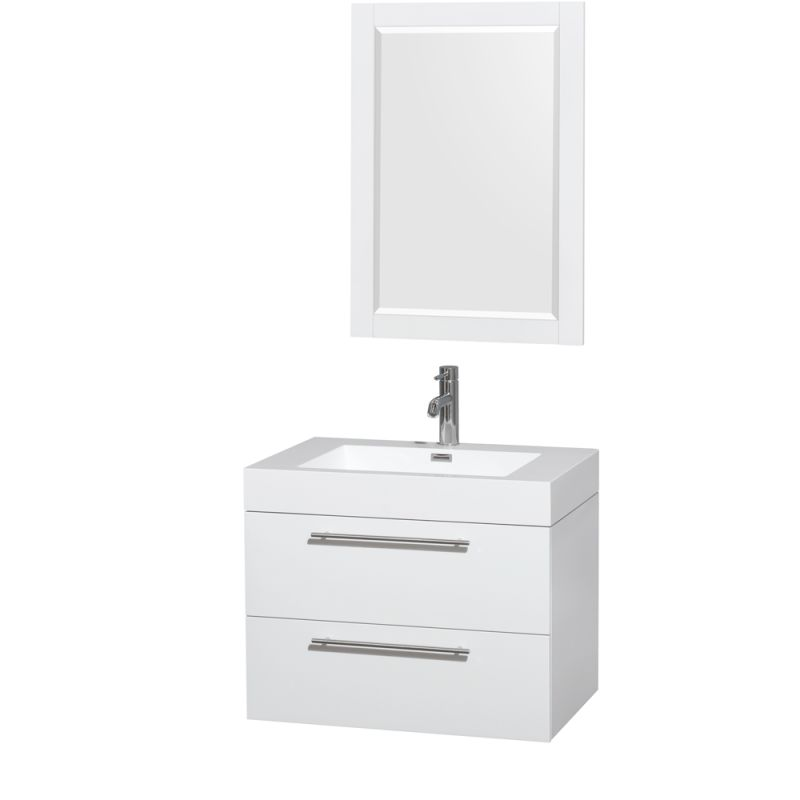 Wyndham Collection WCR410030SARINTM24 Amare 29 Single Vanity Cabinet Set - Incl Glossy White \/ Integrated Sink Fixture Single