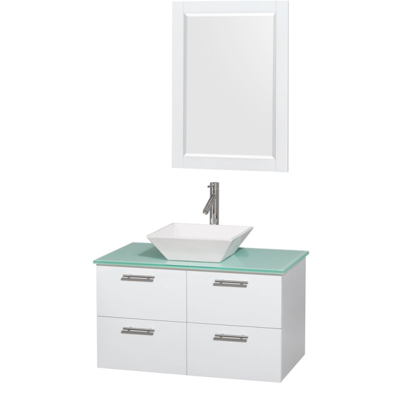 Wyndham Collection WCR410036 36 Wall Mounted Vanity Set with MDF Cabinet, Glass Glossy White \/ Green Glass Top Fixture Single