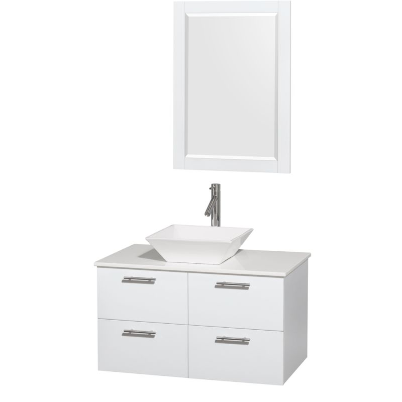 Wyndham Collection WCR410036 36 Wall Mounted Vanity Set with MDF Cabinet, Glass Glossy White \/ White Stone Top Fixture Single