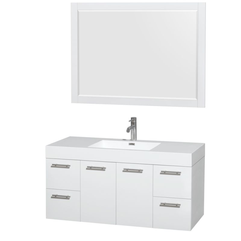 Wyndham Collection WCR410048SARINTM46 Amare 47 Single Vanity Cabinet Set - Incl Glossy White \/ Integrated Sink Fixture Single