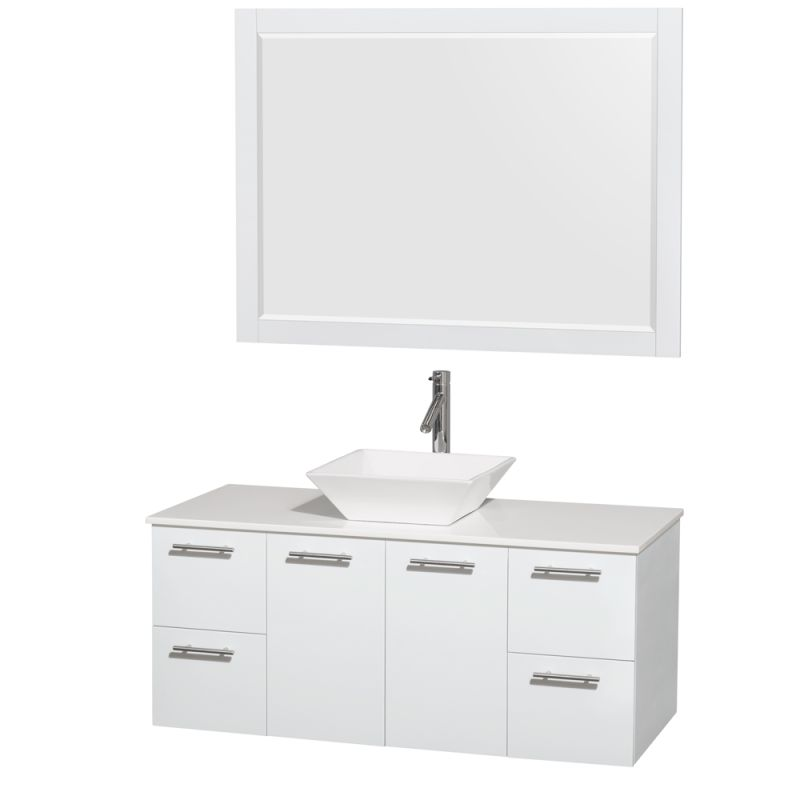 Wyndham Collection WCR410048 48 Wall Mounted Vanity Set with MDF Cabinet, Glass Glossy White \/ White Stone Top Fixture Single