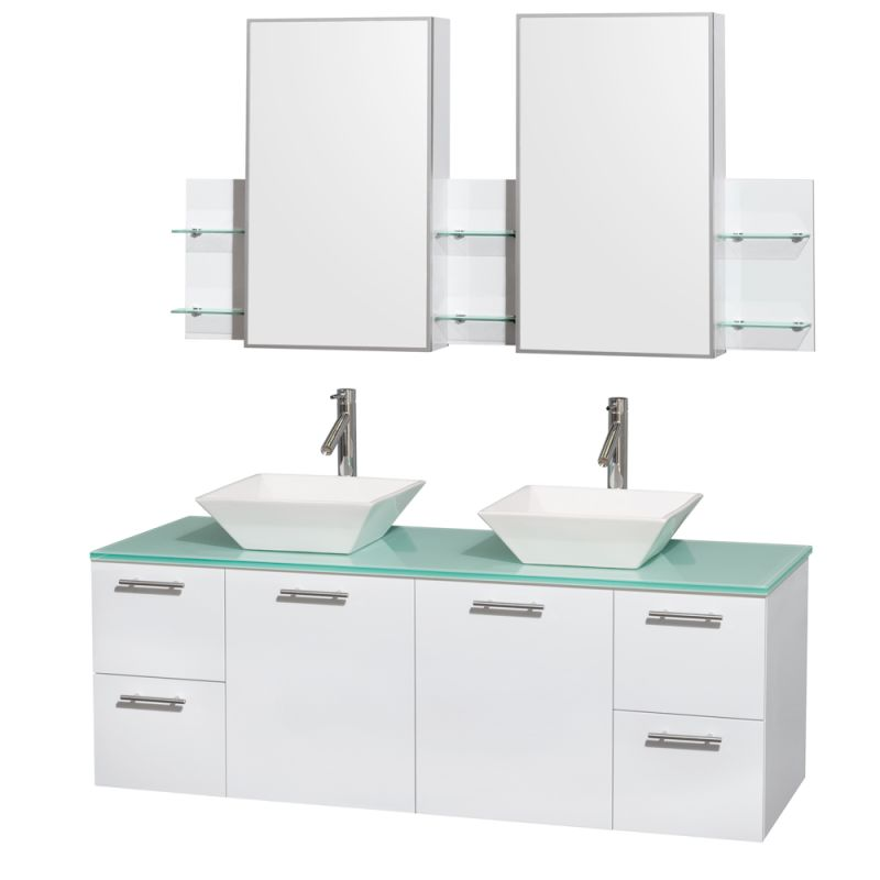 Wyndham Collection WCR410060DB 60 Wall Mounted Vanity Set with MDF Cabinet, Gla Glossy White \/ Green Glass Top Fixture Double