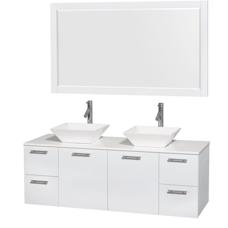 Wyndham Collection WCR410060M1DB 60 Wall Mounted Vanity Set with MDF Cabinet, G Glossy White \/ White Stone Top Fixture Double