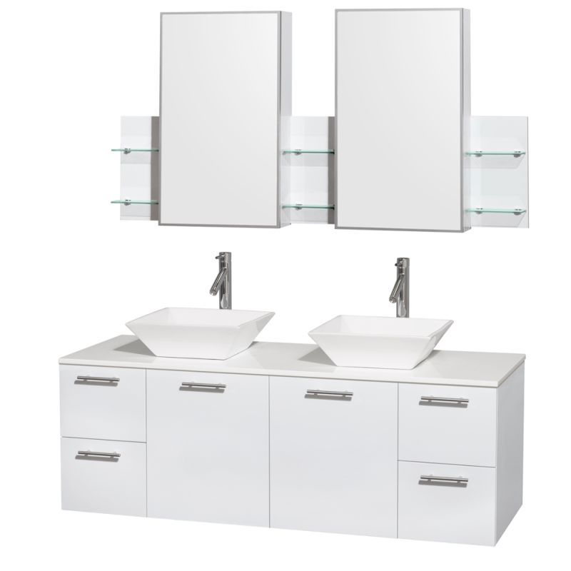 Wyndham Collection WCR410060DB 60 Wall Mounted Vanity Set with MDF Cabinet, Gla Glossy White \/ White Stone Top Fixture Double