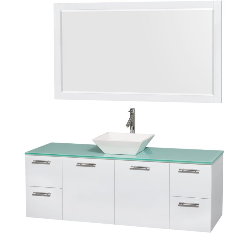 Wyndham Collection WCR410060 72 Wall Mounted Vanity Set with MDF Cabinet, Glass Glossy White \/ Green Glass Top Fixture Double