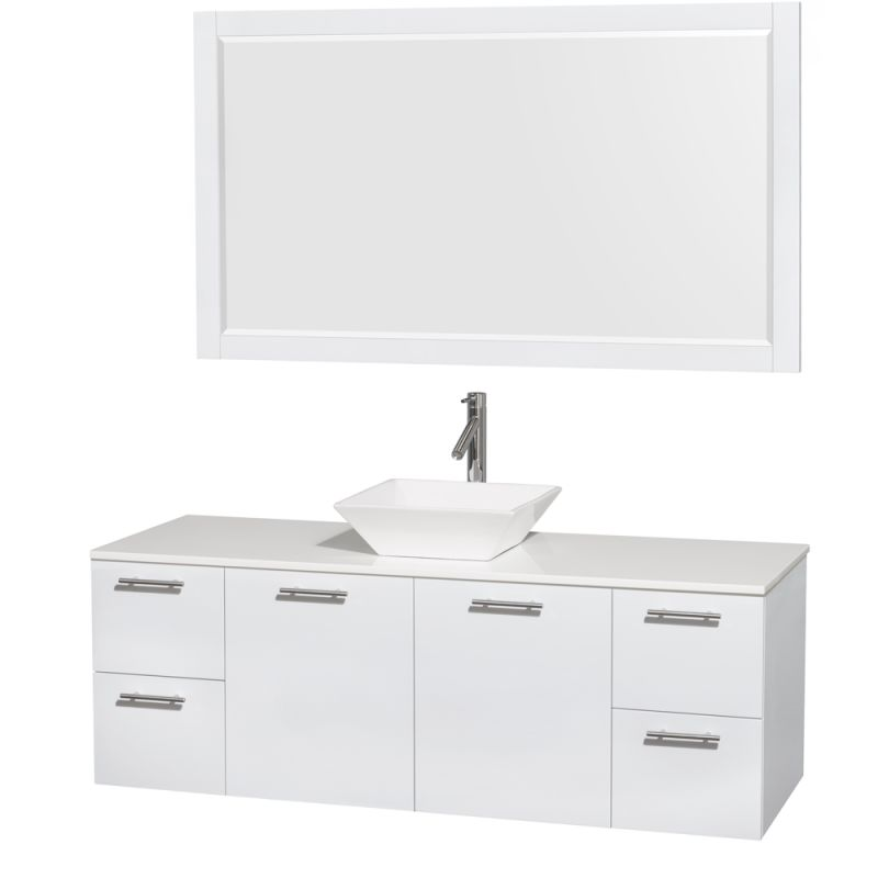 Wyndham Collection WCR410060 72 Wall Mounted Vanity Set with MDF Cabinet, Glass Glossy White \/ White Stone Top Fixture Double