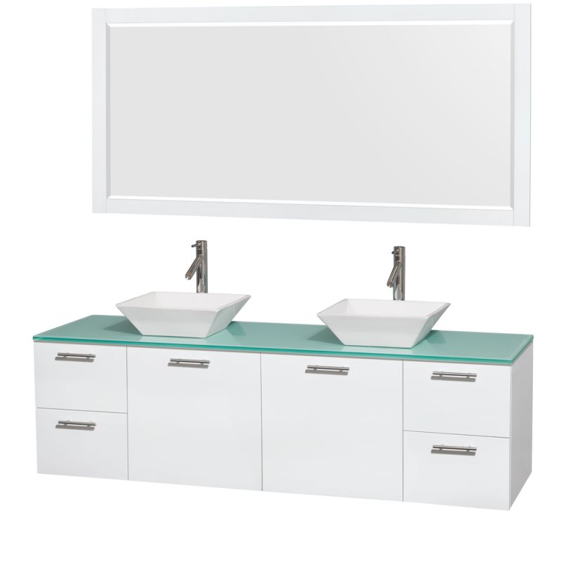 Wyndham Collection WCR410072M1DB 72 Wall Mounted Vanity Set with MDF Cabinet, G Glossy White \/ Green Glass Top Fixture Double