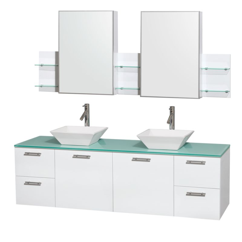 Wyndham Collection WCR410072DB 72 Wall Mounted Vanity Set with MDF Cabinet, Gla Glossy White \/ Green Glass Top Fixture Double