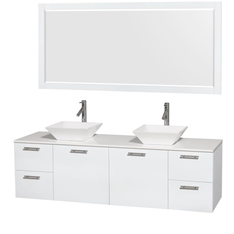 Wyndham Collection WCR410072M1DB 72 Wall Mounted Vanity Set with MDF Cabinet, G Glossy White \/ White Stone Top Fixture Double