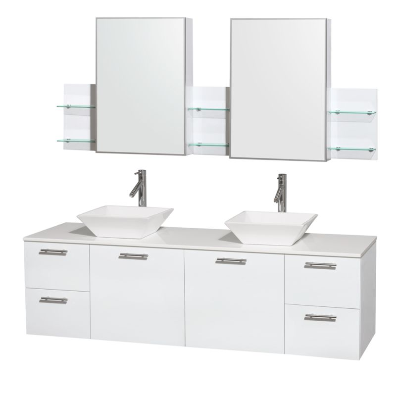 Wyndham Collection WCR410072DB 72 Wall Mounted Vanity Set with MDF Cabinet, Gla Glossy White \/ White Stone Top Fixture Double