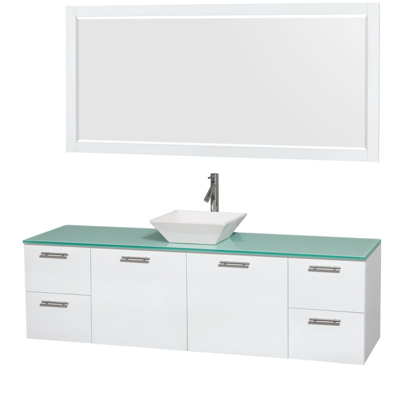 Wyndham Collection WCR410072 72 Wall Mounted Vanity Set with MDF Cabinet, Glass Glossy White \/ Green Glass Top Fixture Double
