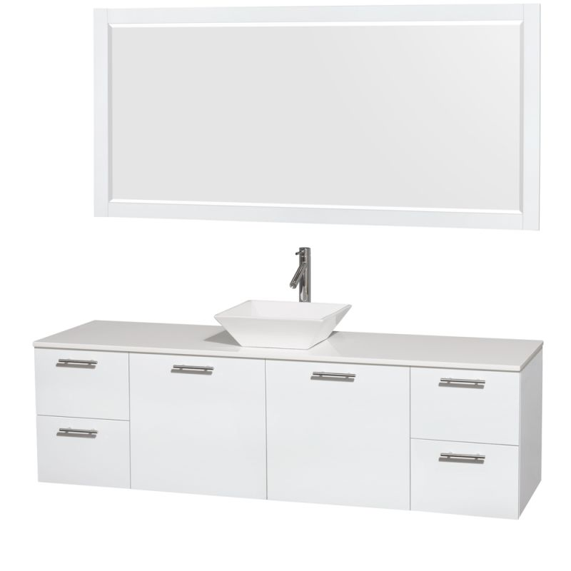 Wyndham Collection WCR410072 72 Wall Mounted Vanity Set with MDF Cabinet, Glass Glossy White \/ White Stone Top Fixture Double