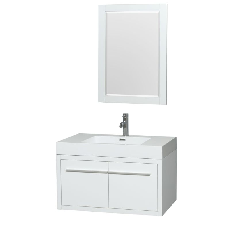 Wyndham Collection WCR430036SARINTM24 Axa 35 Single Vanity Cabinet Set - Includ Glossy White Fixture Single