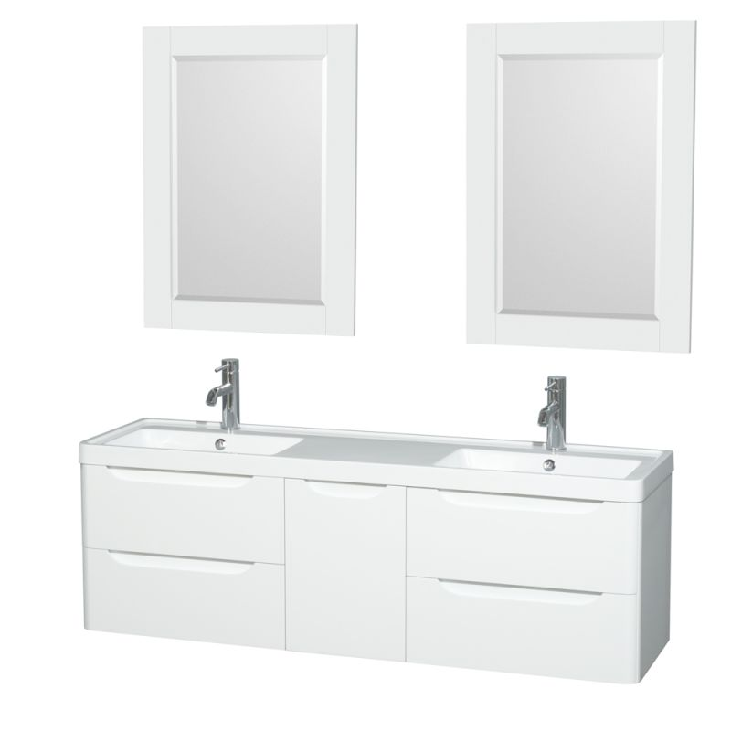Wyndham Collection WCS777760DARINTM24 Murano 60 Free Standing Vanity Set with W Glossy White Fixture Double