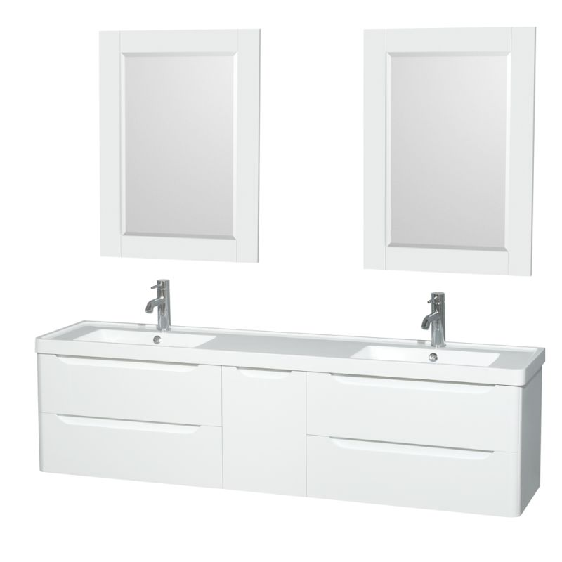 Wyndham Collection WCS777772DARINTM24 Murano 72 Free Standing Vanity Set with W Glossy White Fixture Double