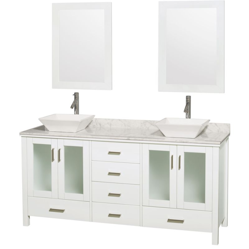 Wyndham Collection WCV01572V 72 Free Standing Vanity Set with Hardwood Cabinet, Glossy White \/ Carrera Top Fixture Double