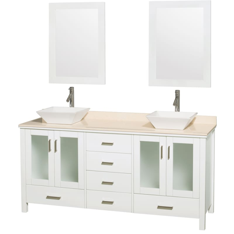 Wyndham Collection WCV01572V 72 Free Standing Vanity Set with Hardwood Cabinet, Glossy White \/ Ivory Top Fixture Double