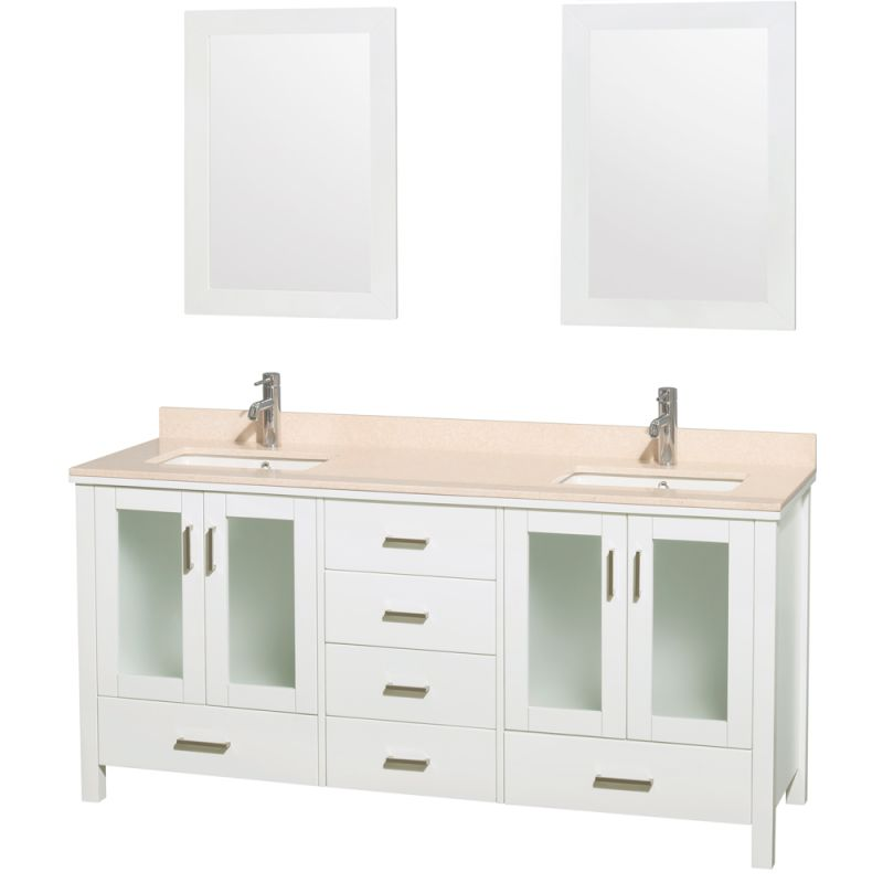 Wyndham Collection WCV01572 72 Freestanding Vanity Set with Hardwood Cabinet, M Glossy White \/ Ivory Top Fixture Double