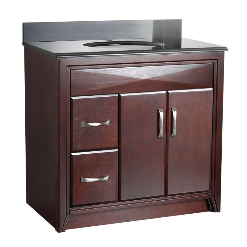 Foremost cala3621dl merlot cavett bathroom vanity 36 with left side drawers for 36 bathroom vanity left hand drawers
