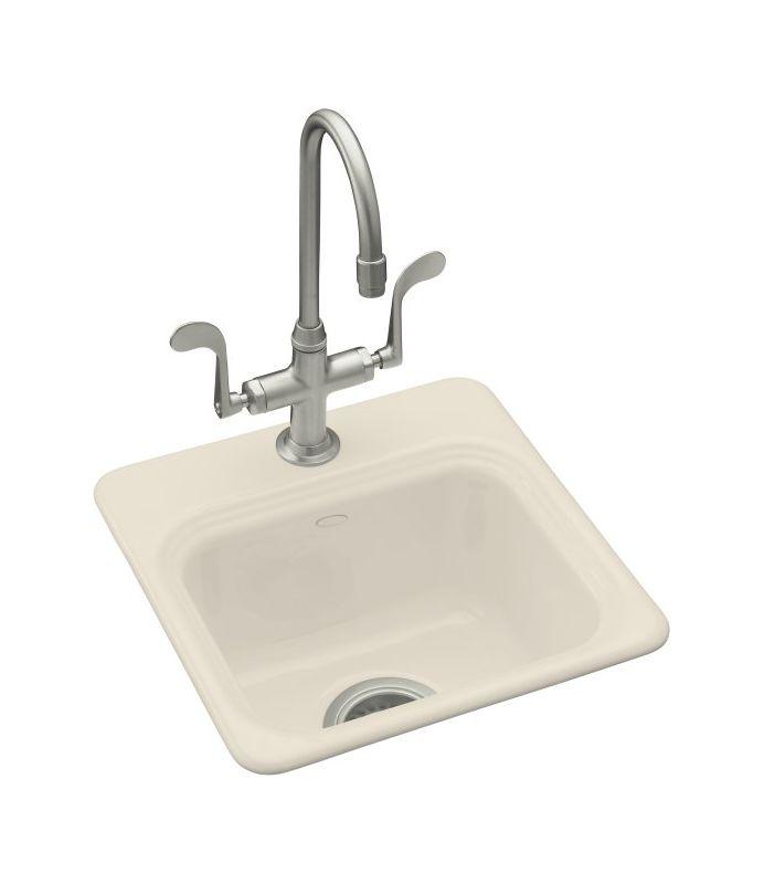 Kohler K 6579 3 47 Almond Single Basin Cast Iron Bar Sink