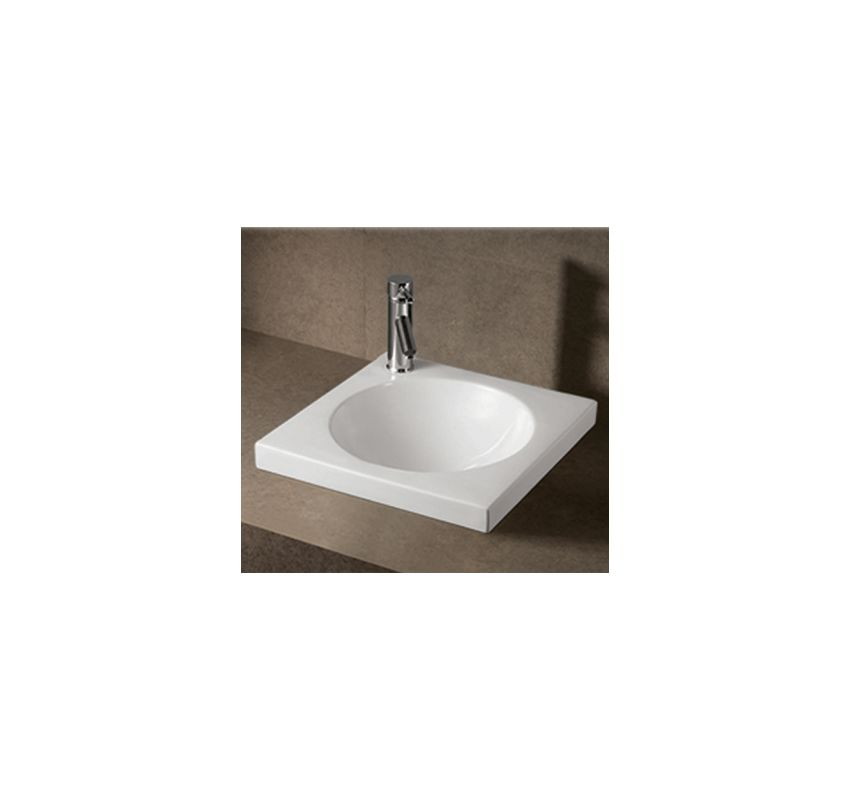 Whitehaus Whkn4061 Wh White Isabella 18 Square Drop In Bathroom Sink With Pre Drilled Faucet