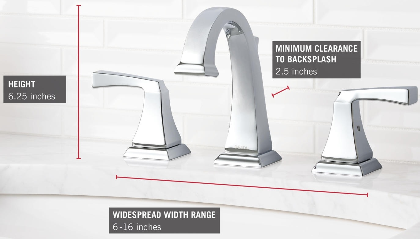 7 Faucet Finishes For Fabulous Bathrooms: Delta 3551LF Chrome Dryden Widespread Bathroom Faucet With