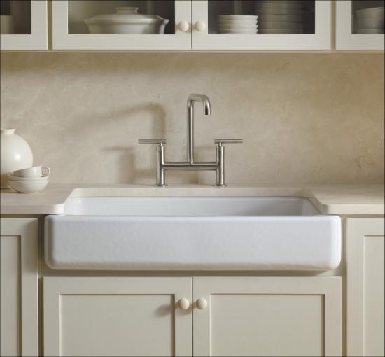 Kohler k 6488 g9 sandbar whitehaven 36 single basin for Cast iron sink manufacturers